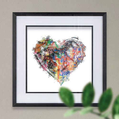 Heart Grafitti Effect Wall Art Print