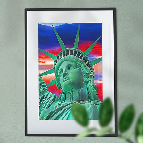 Wall Art Print Statue of Liberty Head with Red, White and Blue Sky - Front View
