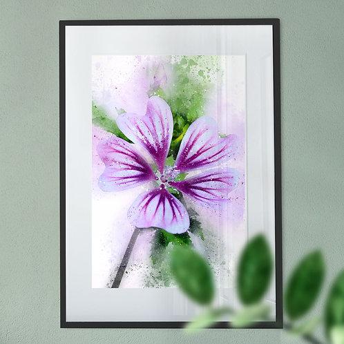 Watercolour Explosion Wall Art Print of a Purple Flower
