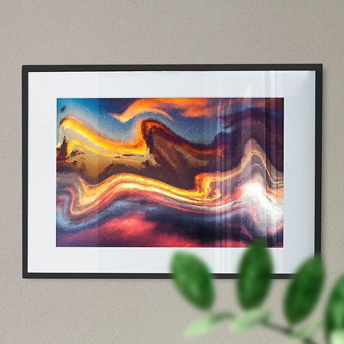 Brown and Yellow Marble Effect Digital Wall Art Print (Abstract)