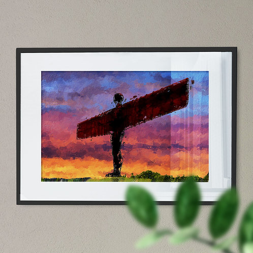 A Digital Wall Art Print of The Angel Of The North Pink Orange and Blue Sky