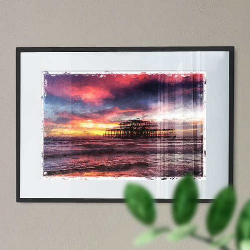 Wall Art Print Brighton Pier Pink and Blue Sky