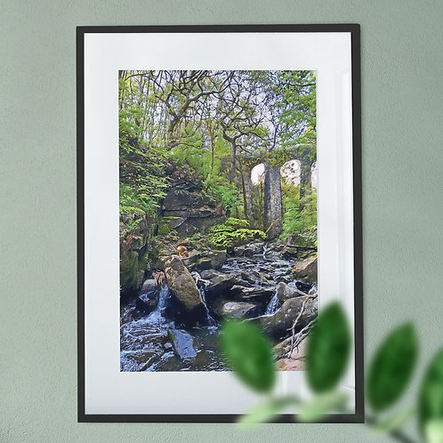 Squirrel at Healey Dell Wall Art Print - Oil Painting Effect