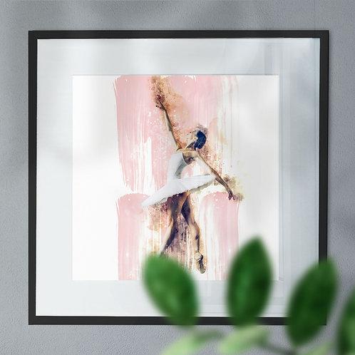 Beautiful Digital Wall Art Print Watercolor Image of Ballerina On Pointes