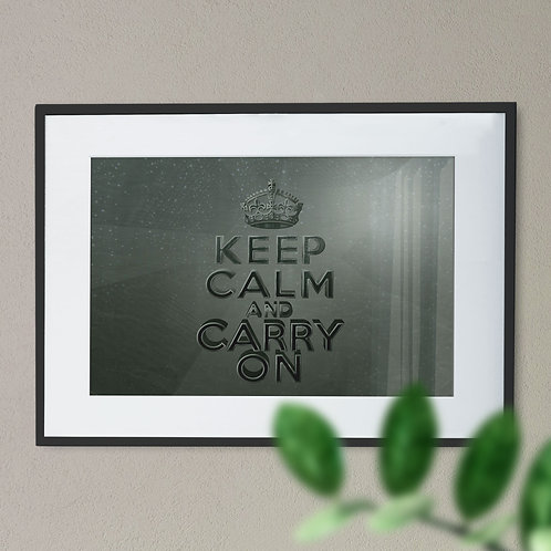 Keep Calm and Carry On With a Metallic Effect Wall Art Print