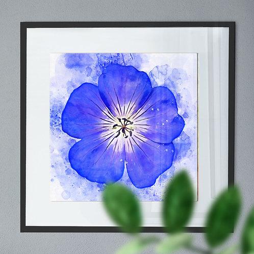 Wall Art Print of a Blue Geranium Flower Watercolour Effect