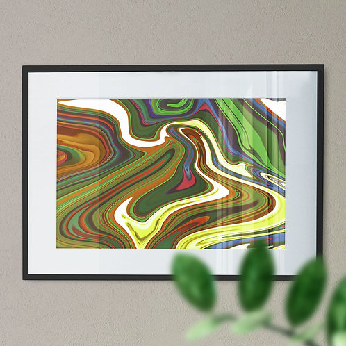 Psychdelic Marble Digital  Wall Art Print (Abstract)