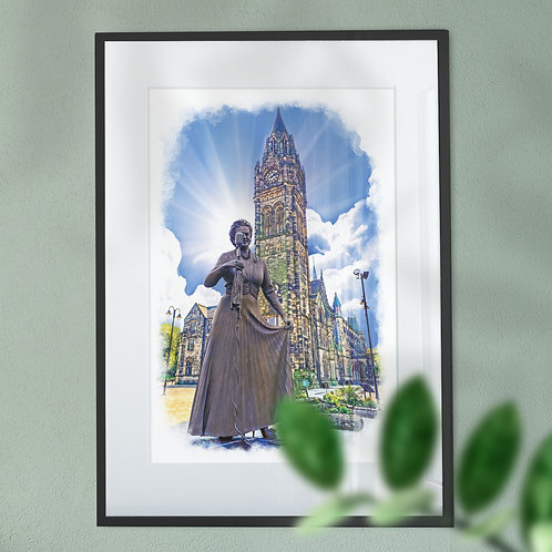 Gracie Fields and Rochdale Clock Tower Wall Art Print - Blue Sky  Oil Painting