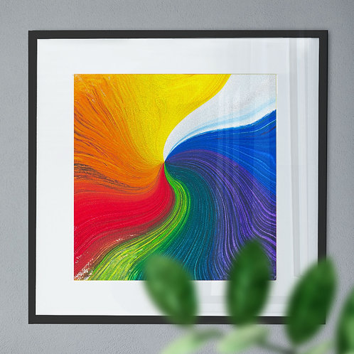 Abstract Wall Art Print with Rainbow Paint