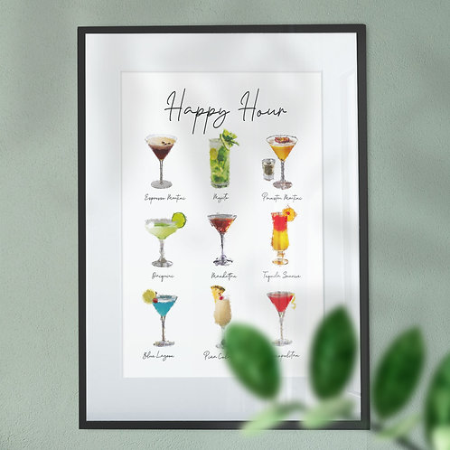 Art Print of 9 Cocktails - Happy Hour in a Paint Effect Wall Art Print