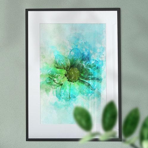Green Flower Wall Art Print with an Explosion Effect