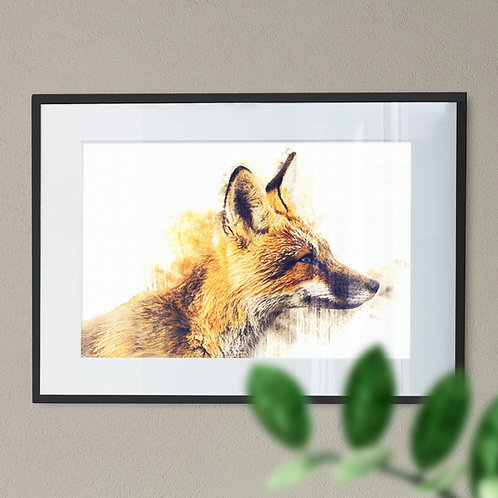 Watercolour Digital Image of a Fox on White Background Wall Art Print