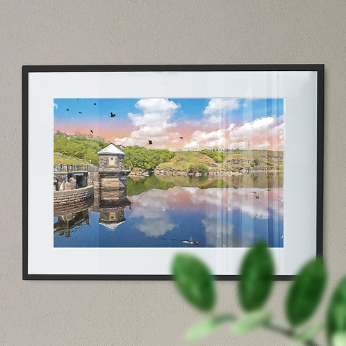 Greenbooth Reservoir Wall Art Print - Rochdale Pink Sky Oil Painting Effect