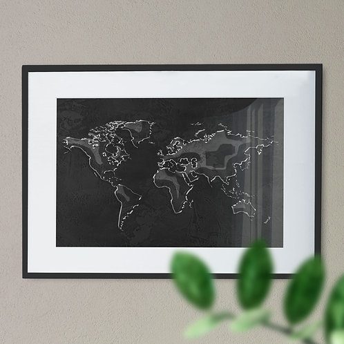 Map of the World in a Water Effect Wall Art Print