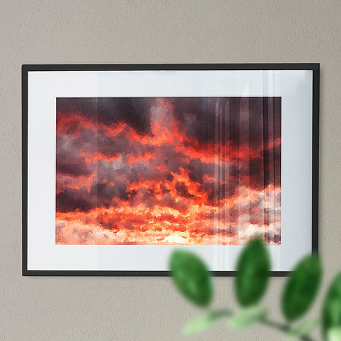 Red and Black Sky Digital Wall Art Print (Abstract)
