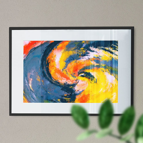 Blue, Orange and Yellow Abstract Digital Wall Art Print Canvas Effect