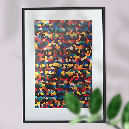 Wall Art Print of  Bright Multicolour Shapes (Abstract)