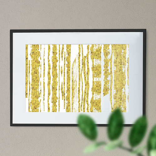 Gold Effect Stripes Wall Art Print (Abstract)