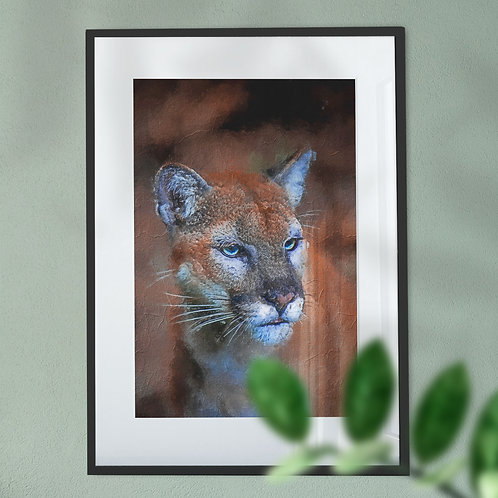 Mountain Lion with Oil Painting Effect Digital Wall Art Print