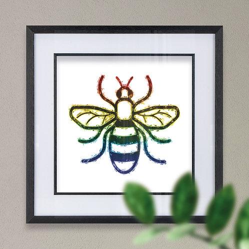 Rainbow Black Bee Wall Art Print