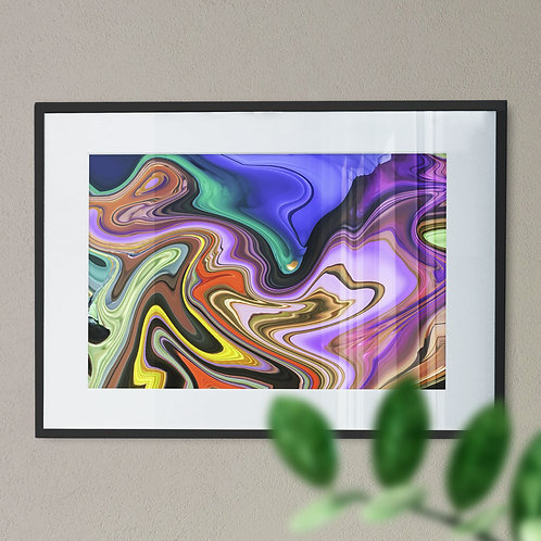 Multicolour Marble Effect Wall Art Print (Abstract)