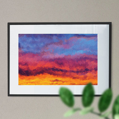 Blood Red Sky in Blue, Red and Yellow Digital Wall Art Print (Abstract)