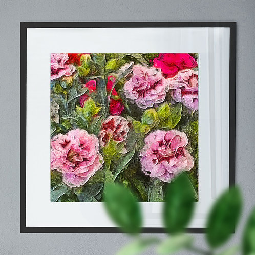 Wall Art Print of Pink Flowers in Oil Painting Effect