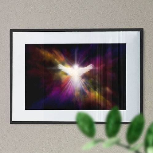 Wall Art Print - Guardian Angel with an Explosion of Multicolour Light
