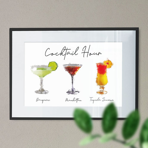 A Digital Wall Art Print of 3 Cocktails - Cocktail Hour In Paint Effect