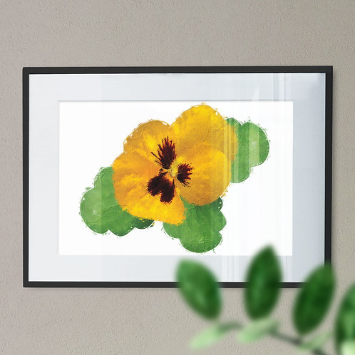 Yellow Pansy Oil Painting Effect Wall Art Print