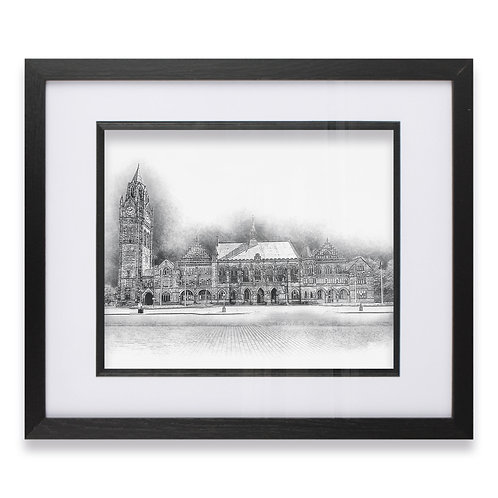 Historic Rochdale Town Hall Pencil Drawing Framed Print