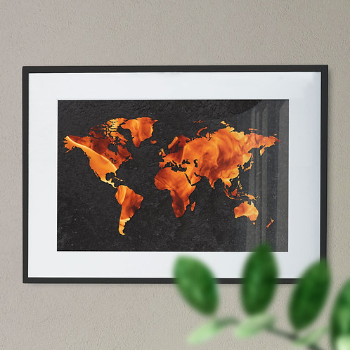 Digital Wall Art Print Map of the World with a Flame Effect