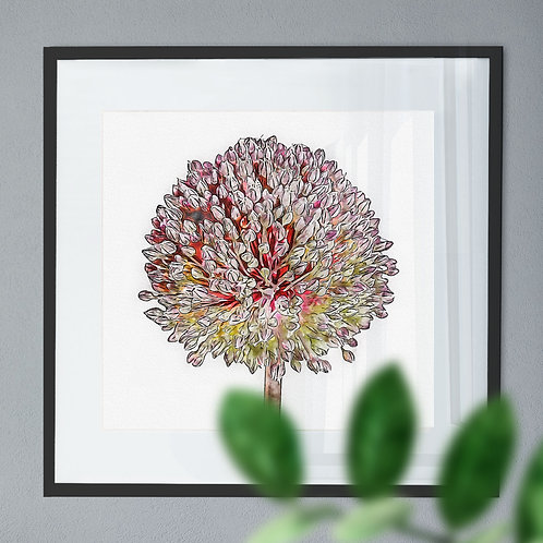 Pen and Watercolour Painting Wall Art Print of a Purple Allium