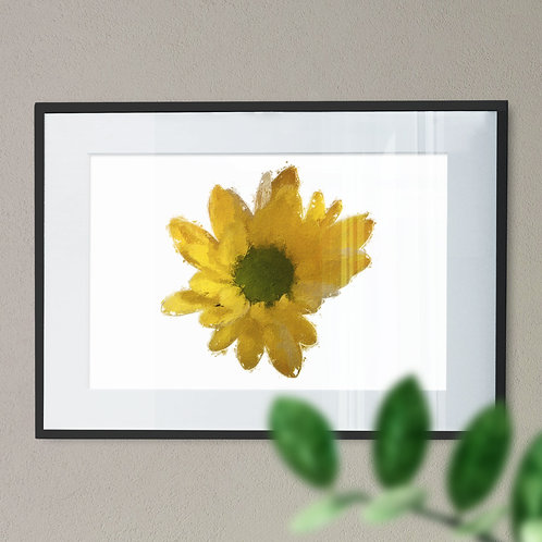 Yellow Flower Oil Painting Effect Wall Art Print