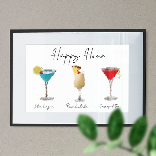 A Print of 3 Cocktails - Happy Hour In Paint Effect Wall Art Print