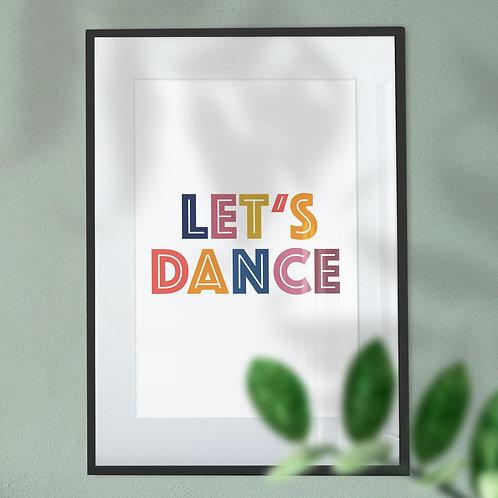 Let's Dance Multicoloured Wall Art Print