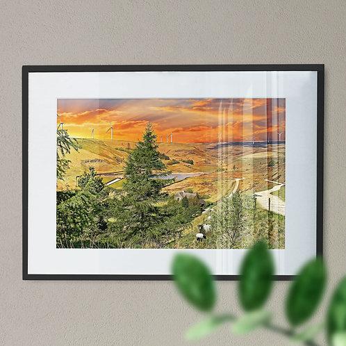 Naden Reservoir, Rochdale Wall Art Print - Digital Effect
