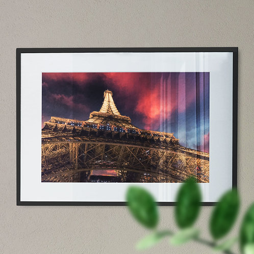 A Wall Art Print of Eiffel Tower at Night with Blue and Pink Sky