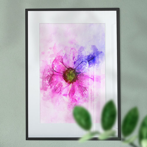 PinkWall Art Print Gerbera Flower with a Colourful Explosion Effect