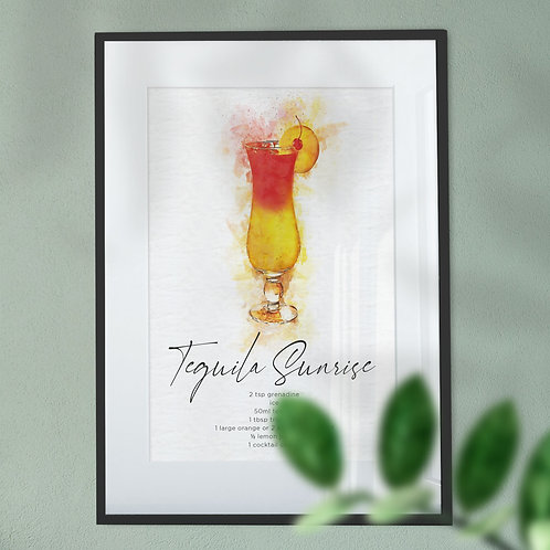 Wall Art Print - Watercolour Abstract of a Tequila Sunrise Cocktail & Recipe