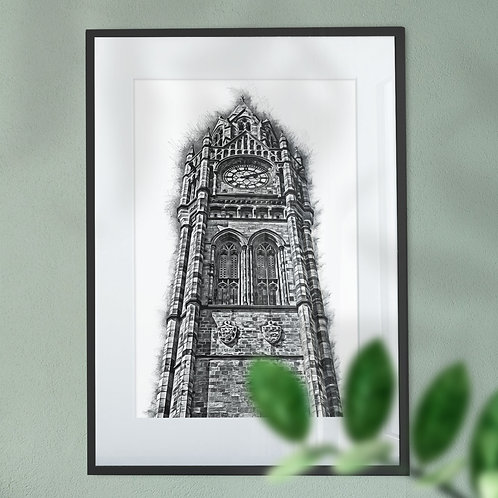 Rochdale Town Hall Clock Tower with a Mono Finish - Wall Art Print