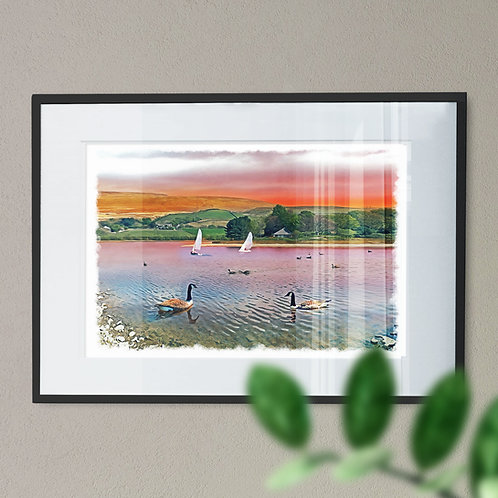 Hollingworth Lake Rochdale Wall Art Print - Oil Painting Effect