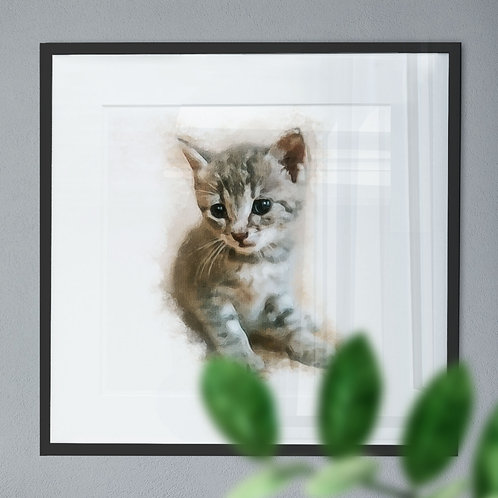 Adorable Kitten - Wall Art Print Oil Painting Effect