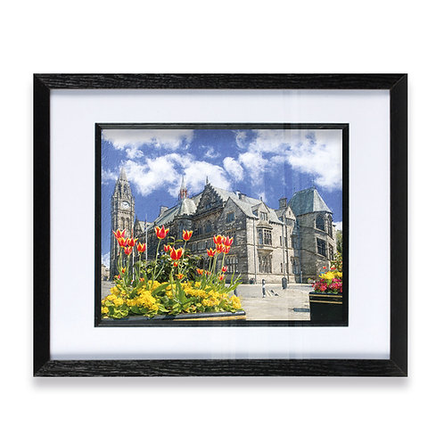 Rochdale Town Hall and Tulips in the Foregound - Framed Print