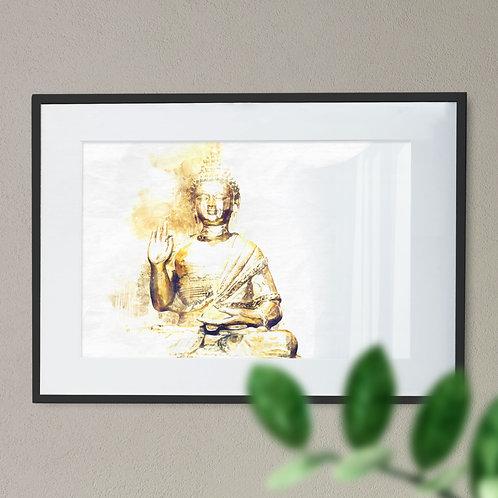 Wall Art Print - Watercolour Image of Seated Buddha
