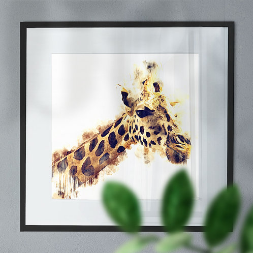 Watercolour Image of a Giraffe with White Background Wall Art Print