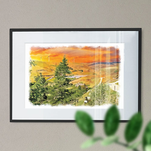 Naden Reservoir Wall Art Prin Rochdale Orange and Purple Sky Oil Painting Effect