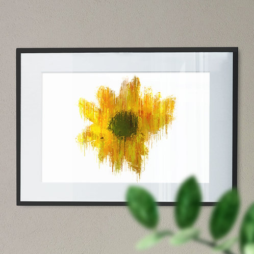 Yellow Gerbera Flower Wall Art Print Grunge Effect