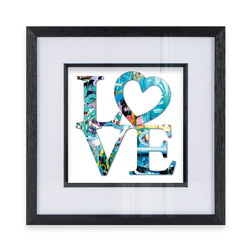 LOVE Typography with Heart Wall Art Print in Blue, Ideal Gift