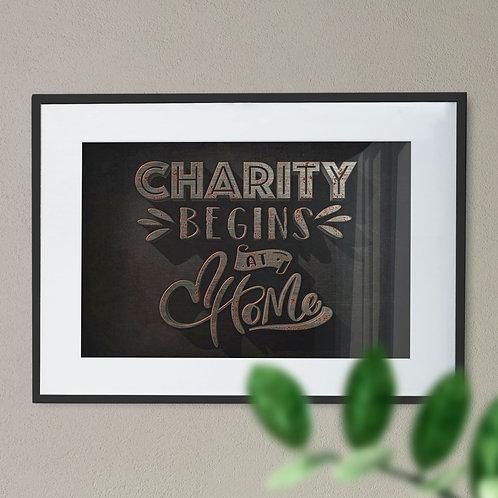 Charity Begins at Home Rusted Metal Digital Wall Art Print